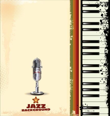 old piano: Jazz background with piano key and old microphone