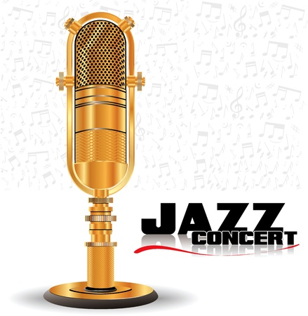 singer with microphone: Abstract golden retro microphone - jazz concert