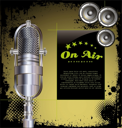 radio microphone: Local radio station - grunge background Illustration