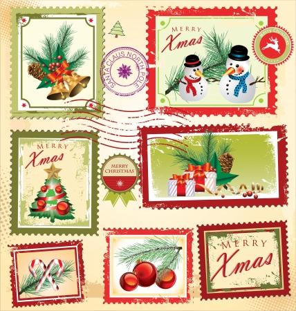 postcard design: Vintage Christmas postage set Illustration