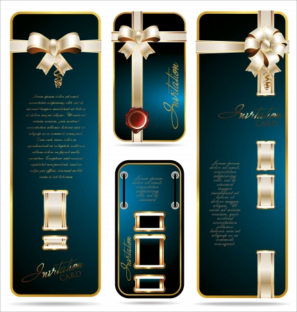 Blue Gift card with white and gold ribbon set Vector
