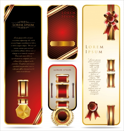 Elegant Banners with ribbons and golden medallions  Vector set Stock Vector - 19051358