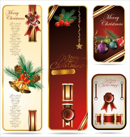 Elegant Christmas Banners with ribbons  Vector set Stock Vector - 19051487