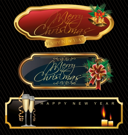 golden frames: Elegant Merry christmas golden frames Illustration