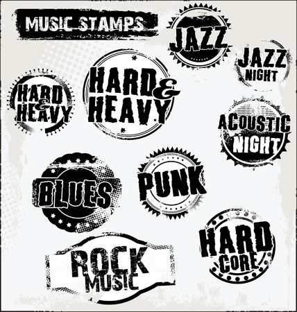 blues music: Music grunge rubber stamps Illustration