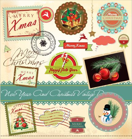 New year and christmas vintage design Vector