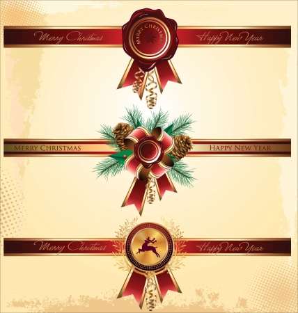 Red new year and christmas wax seal and ribbon Vector
