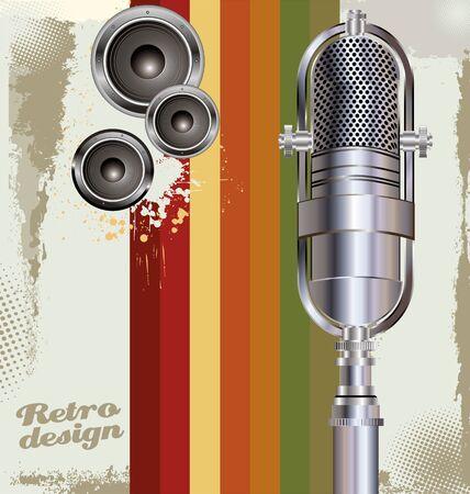 radio microphone: Retro music design