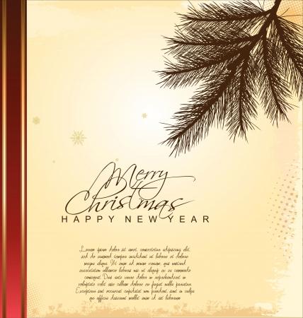 pine branch: Vintage pine branch background Illustration