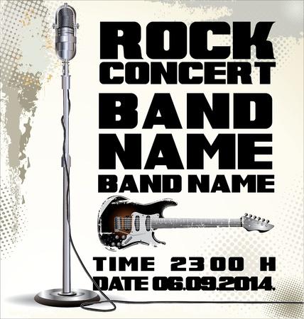 live band: Billboard Rock Festival  vector illustration