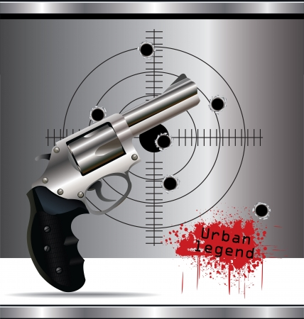 Bullet holes in the background and revolver background Stock Vector - 19051187