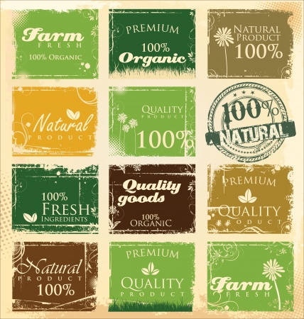 Collection of eco and bio labels Vector