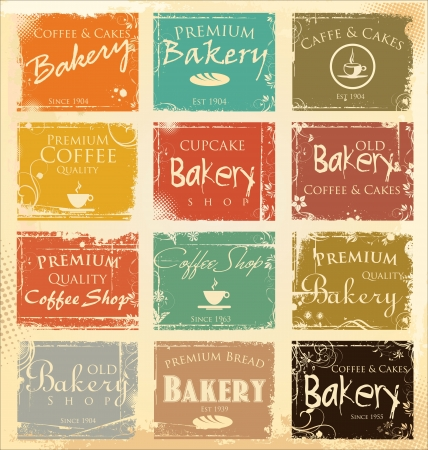 Collection of vintage retro grunge food labels Vector