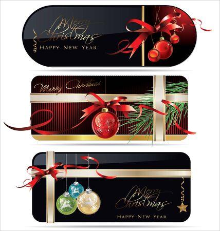 Elegant christmas golden labels Vector