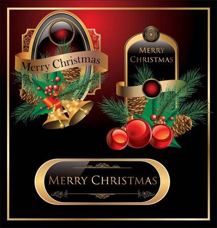 Elegant christmas golden labels Stock Vector - 19051458