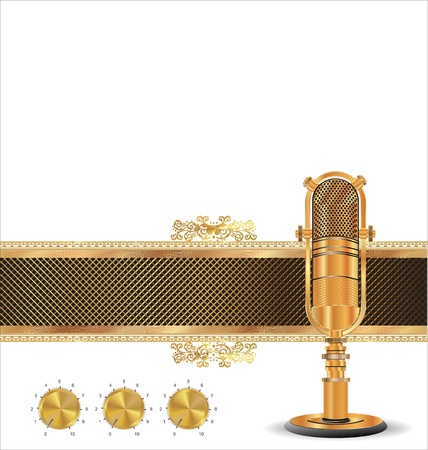 gold record: Golden music background with old microphone Illustration