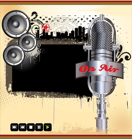 locution: Grunge music background with abstract retro microphone and speakers Illustration