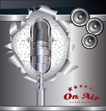 subwoofer: Priorit� bassa di musica con il vecchio microfono Vettoriali