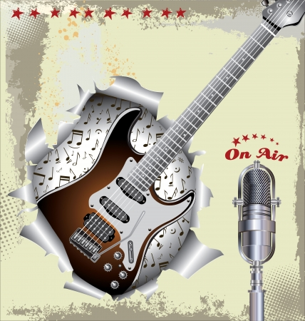 Music background with old microphone and guitar Vector