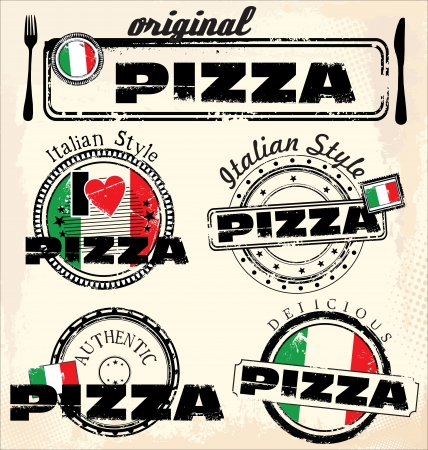 Vintage pizza stamps Vector
