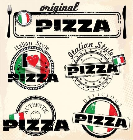 savoury: Vintage pizza stamps Illustration