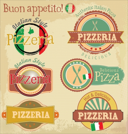 mozzarella cheese: Vintage pizza labels Illustration