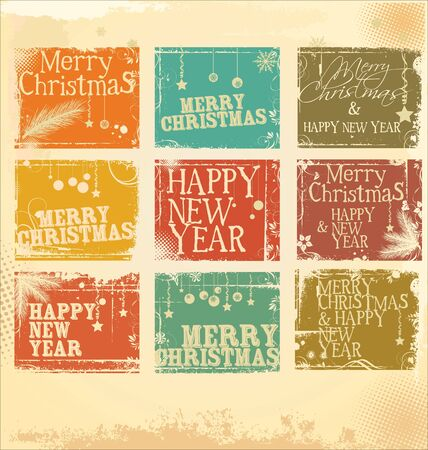 Retro Christmas label set Stock Vector - 19051319