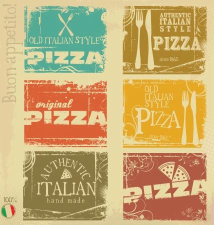 pizzeria label: Etiquetas de pizza Vintage Vectores