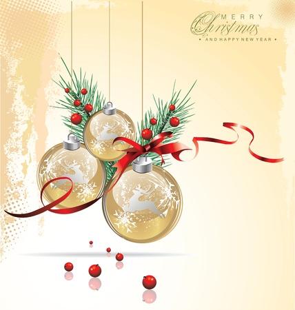 gold christmas background: Elegant Christmas background Illustration