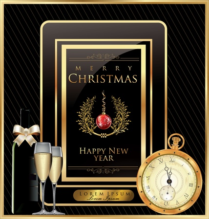 gold watch: Christmas background
