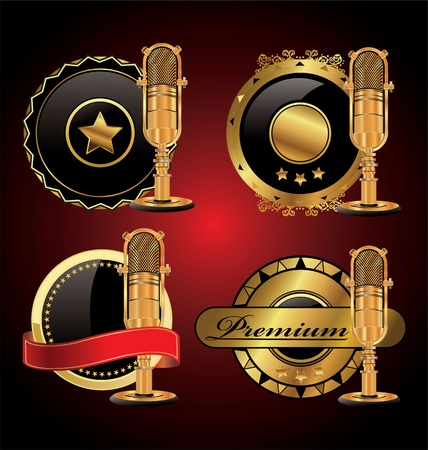 gold record: Elegant golden microphone