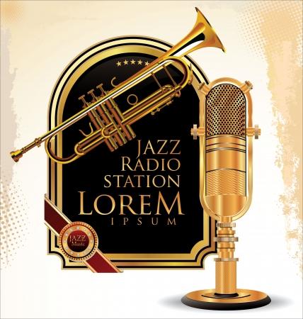 retro microphone: Jazz music background