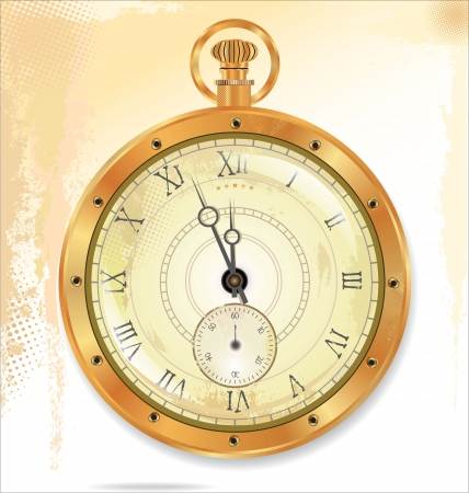 gold watch: Old pocket gold watch detailed illustration  No transparency