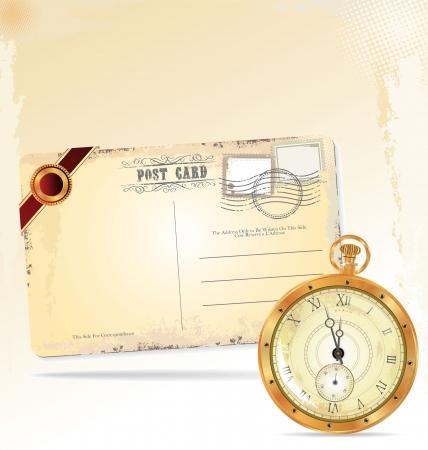 古美術品: 古いポケット時計とレトロ ポスト カード