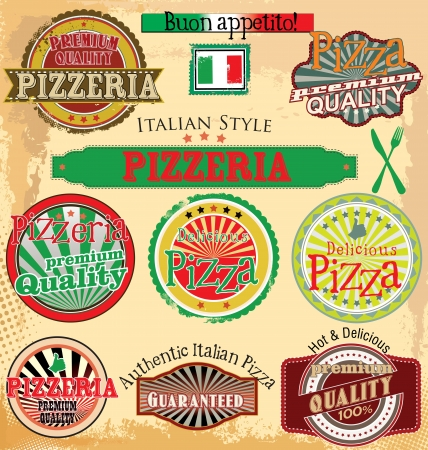 pizza background: Set of vintage styled pizza labels