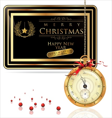 Christmas background with pocket watch and elegant frame Vector