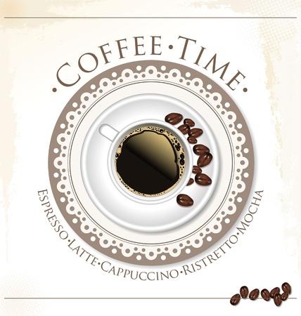 cafe colombiano: Taza de caf? y granos de caf? ilustraci?n vectorial Vectores