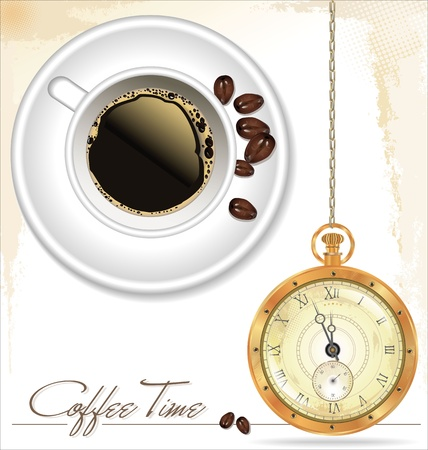 Coffee time  Coffee cup, coffee beans and old watch Vector