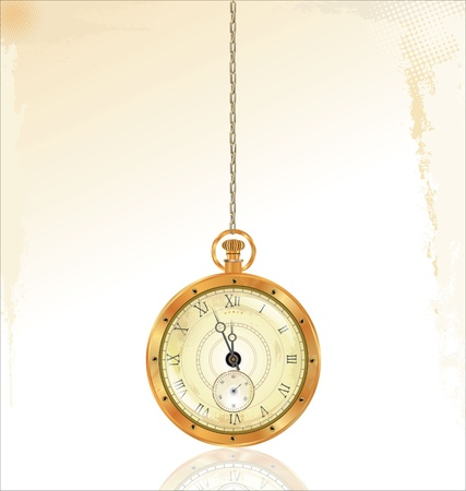 gold watch: Old pocket watch on golden chain