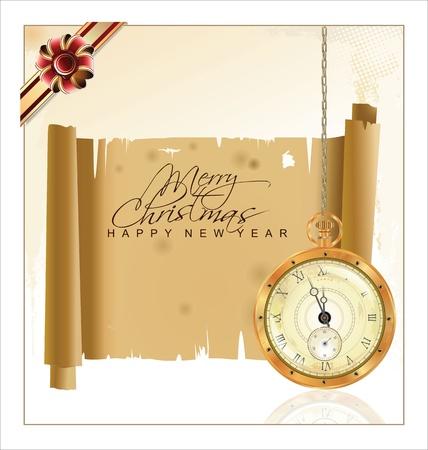 Vintage fondo de Navidad con reloj de bolsillo y papel viejo Ilustración de vector