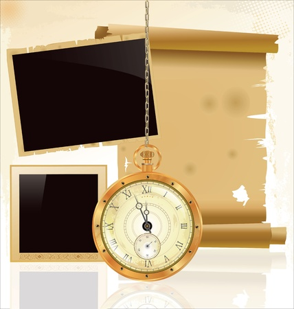 Vintage pocket watch and old paper Vector