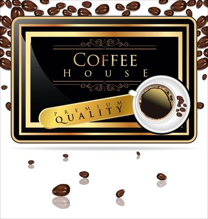 golden bean: Coffee house - elegant label vector illustration