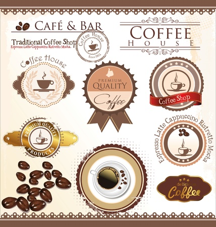 vintage cafe: Vector set of coffee design elements Illustration