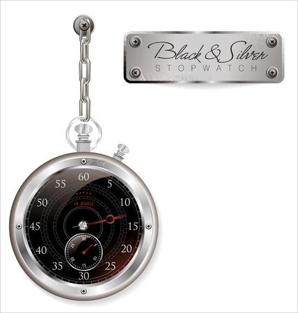Analog black stopwatch on white isolated background Stock Vector - 19083512