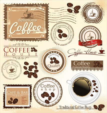 Vector set of coffee design elements Vector