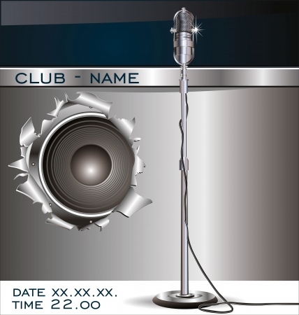 live entertainment: Music background with old microphone