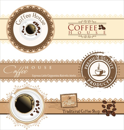 espresso machine: The concept of coffee house menu  Vector illustration
