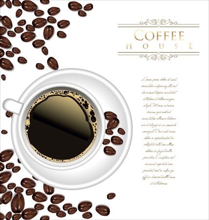 granos de cafe: Taza y de caf� de fondo Vectores