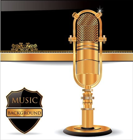 Music background with old golden microphone Vector