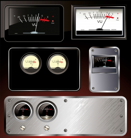 Analog VU Meter - abstract background set Ilustrace